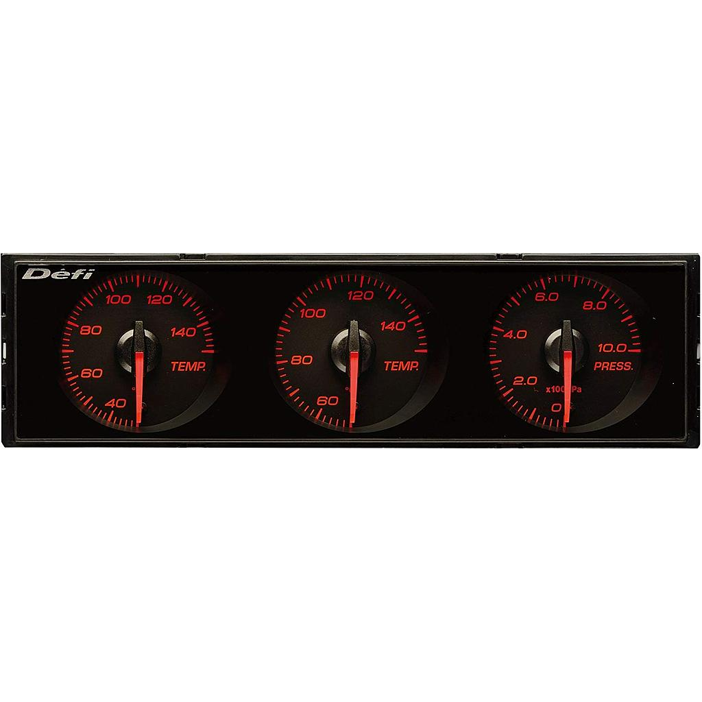 DEFI DIN-Gauge 3 Meter Combination - Red Red